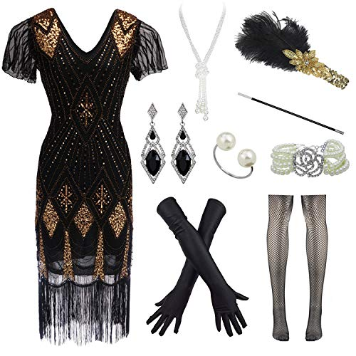 Women's 1920s Gatsby Inspired Sequin Long Fringe Flapper Dress with Sleeves Accessories Set (S, Black)