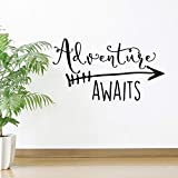 YOYOYU ART HOME DECOR Art Travel Theme Decal Adventure Awaits Quote Arrow Vinyl Wall Decals Living Room Decor Wall Sticker Art Adventure Mural for Kids Bedroom NY-360 (BLACK, 57X100CM)