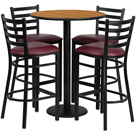 Flash Furniture 30 Round Natural Laminate Table Set With 4 Ladder Back Metal Barstools Burgundy Vinyl Seat