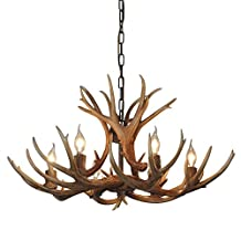 Antlers vintage Style Resin 6 light chandeliers 8688-6,Diameter 88CM * Height 54CM antler chandeliers,Living room,Bar,Dining room deer horn chandeliers, E12 of candle bulbs,from QIRUI Lighting