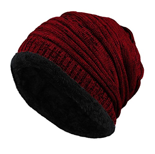 Cable Knit Beanie by Tough Headwear - Thick, Soft & Warm Chunky Beanie Hats for Women & Men (with 5+ Colors) (Wine red) (Topper Red Sox Cake)