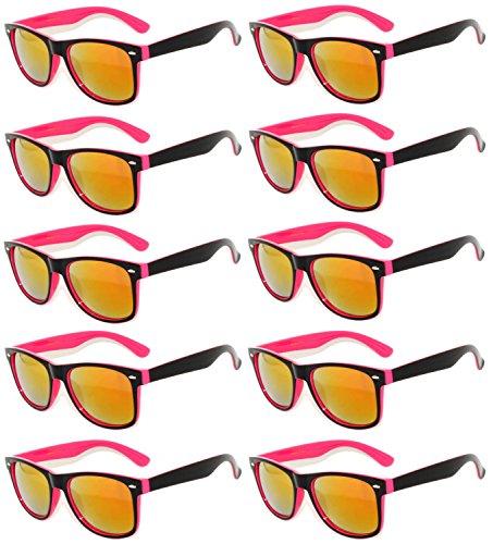 10 Pairs New Stylish Retro Vintage Two Tone Sunglasses Multicolor Mirror Lens Pink - Bulk Black In Sunglasses