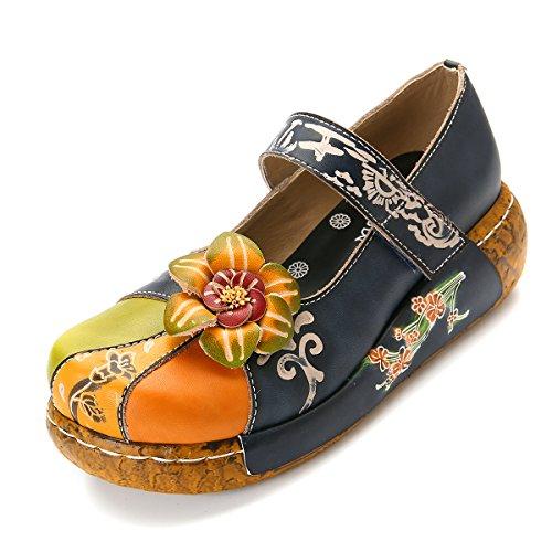Blomst Sandaler on Skinn Loafers Vintage Blå Ballett Tilfeldige Slip Sommer Tøffel Håndlaget Wedges Sko Fargerik Utendørs Danse Gracosy Kvinner Plattform Komfortabel 0n5IT