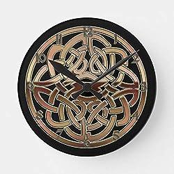 PotteLove Bronze Metallic Celtic Knot Wooden Decorative Round Wall Clock