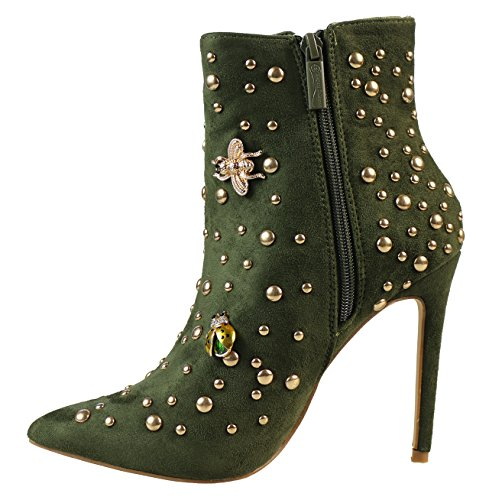 Toe Classic High Party green Heels Rivet Boots Shoes Zipper Pointed Women Ankle Amry For Hot RPzI8qT