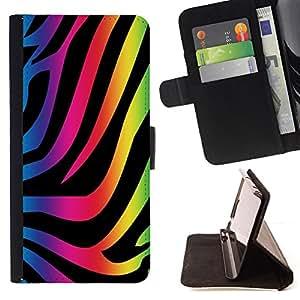 BullDog Case - FOR/HTC One M9 / - / zebra pattern neon colorful wallpaper art /- Monedero de cuero de la PU Llevar cubierta de la caja con el ID Credit Card Slots Flip funda de cuer