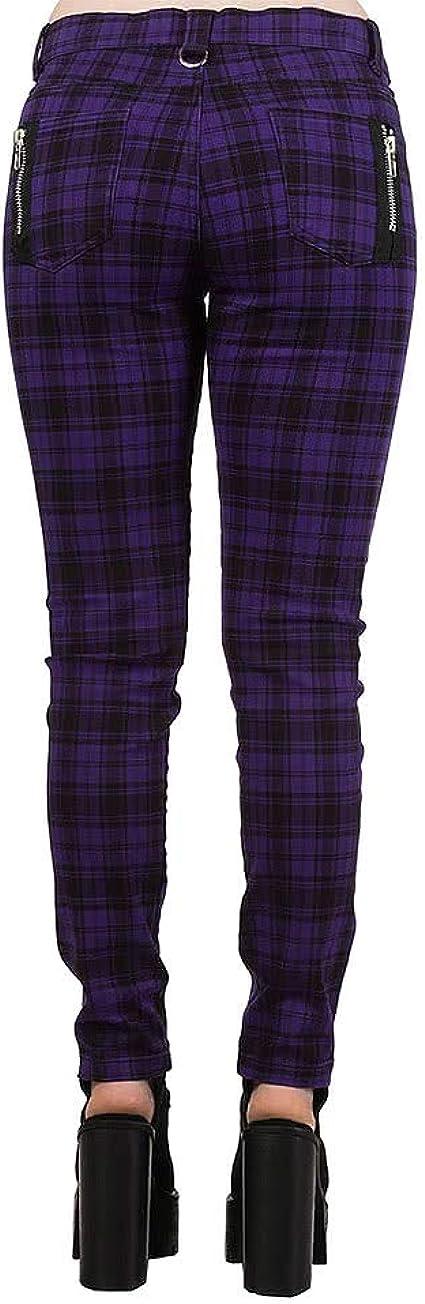 Ripleys Clothing Pantalon jeans violet à carreaux fermeture à glissière motif punkgoth toutes les tailles Violet 34