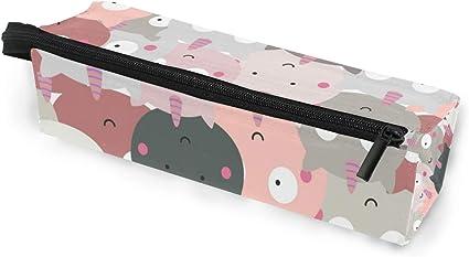 Estuche para gafas de sol con diseño de monstruo de unicornio y gato, caja suave para mujeres y niñas, con cremallera, bolsa de almacenamiento para cosméticos de lápiz rosa y gris: Amazon.es: