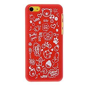 Happy Cartoon World Pattern Matte PC Hard Case for iPhone 5C (Assorted Colors) --- COLOR:Red