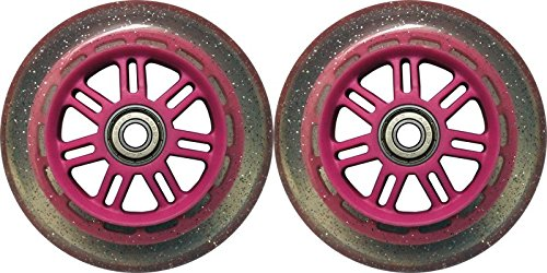 Kick Push 88A Replacement Wheels for Razor Kick Scooter (2 Pack), 100mm, Pink/Glitter (Mm Glitter 100)