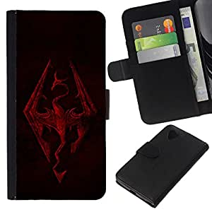 // PHONE CASE GIFT // Moda Estuche Funda de Cuero Billetera Tarjeta de crédito dinero bolsa Cubierta de proteccion Caso LG Nexus 5 D820 D821 / Skyrim Dragon /