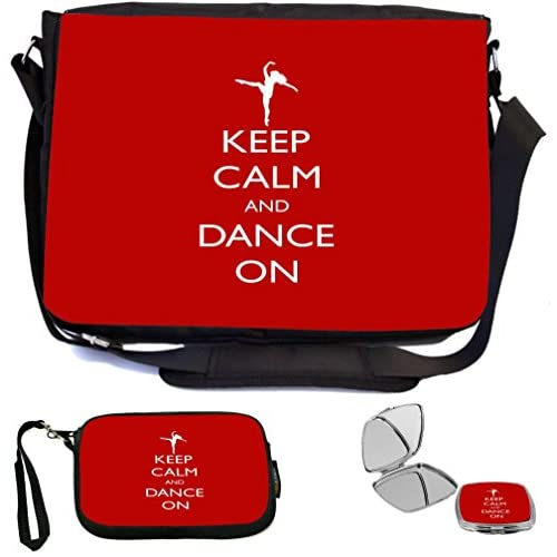 Rikki Knight Keep Calm and Dance On Red Color Design COMBO Multifunction Messenger Laptop Bag - with padded insert for School or Work - includes Wristlet & Mirror