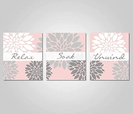 Leoner22art Bathroom Wall Art Blush Pink Grey Bathroom Decor Relax Soak Unwind Blush Grey Gifts Gift Amazon Co Uk Kitchen Home