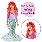 Spooktacular Creations Little Mermaid Deluxe Costume for Child with Long Red Wig by