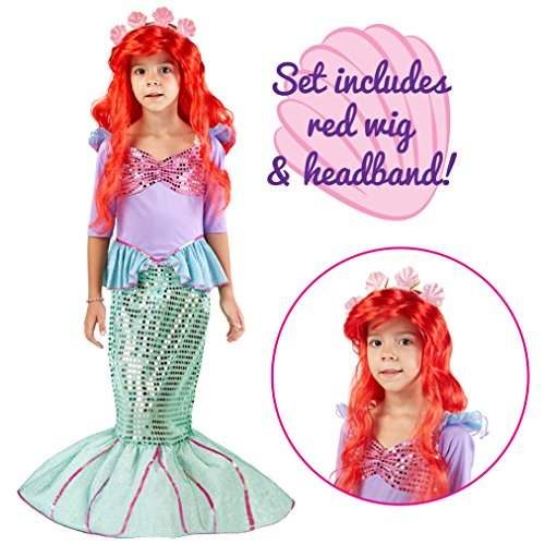 Spooktacular Creations Deluxe Mermaid Costume Set (S 5-7) - Ariel Costumes For Kids