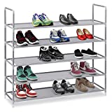 Halter 5 Tier Stackable Shoe Rack Storage Shelves - Stainless Steel Frame Holds 25 Pairs of Shoes - 35.75'' x 11.125'' x 34.25'' - Gray