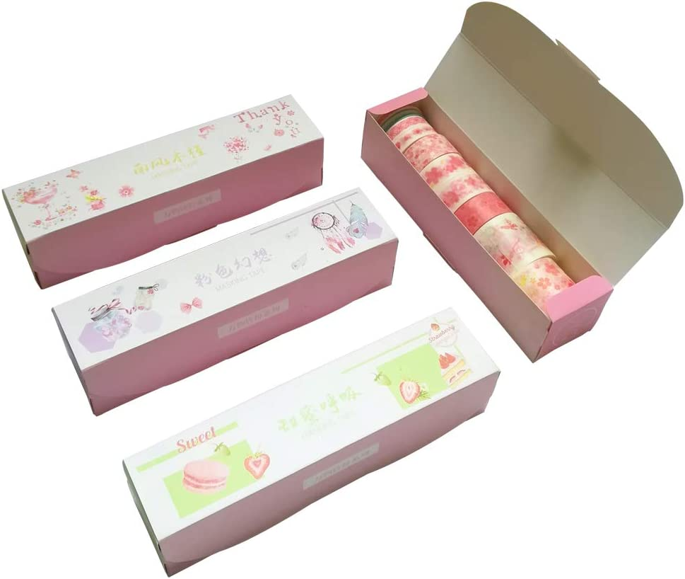 Washi Tape Set (4 Box, Assorted 40 Rolls) Pink Floral Masking Tapes Guitar Piano Food Fruit Diamond Balloon Ice Cream Popsicle DIY Label Sticker for Scrapbooking Photo Frame Diary Journal Planner