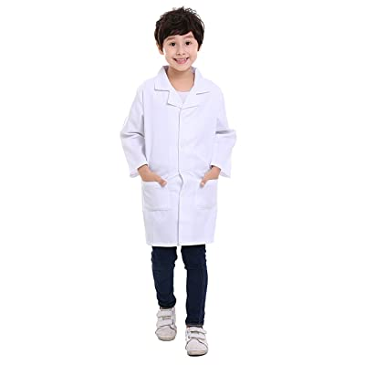 TOPTIE Kids White Lab Coat Child Costume for Scientists or Doctors: Clothing