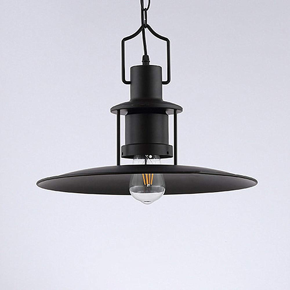 Ladiqi Industrial Hanging Pendant Light Black Vintage Hanging Lighting Fixture with Creative Saucer Shade for Restaurant Cafeteria Buffet by Ladiqi (Image #4)
