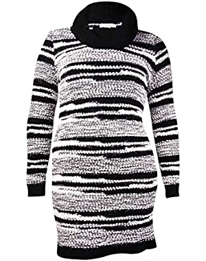 Calvin Klein Women's Cowl Eyelash Striped Sweater Dress (XL, Black/Winter White)
