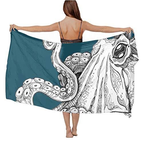 Fashion Scarf Wrap - Holiday Evening Party Swim Shawl Cashmere Feel Soft Cozy Infinity Scarf Long Summer Elegant Sunscreen Paisley Scarf, Teal Octopus Shawl