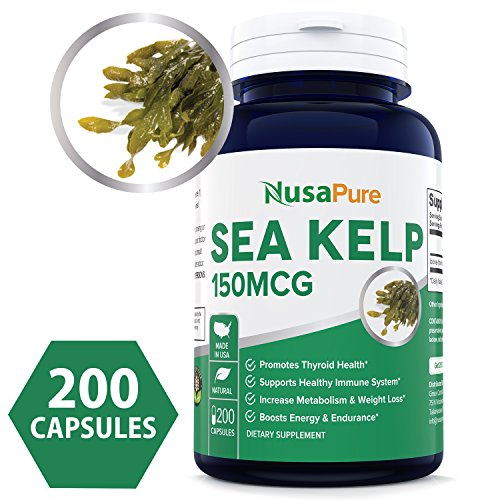 Organic Sea Kelp - Best Sea Kelp 150mcg 200 Capsules (NON-GMO & Gluten Free) - For Weight Loss, Thyroid Support, Helps With Hair And Nail Health, Anti-Aging & Boosts Vitamin A, B, C, D, E and K - Natural Iodine