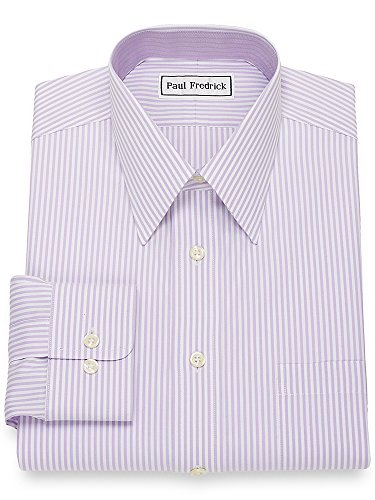 Paul Fredrick Men's Non-Iron Cotton Bengal Stripe Dress Shirt Lavender 14.5/33
