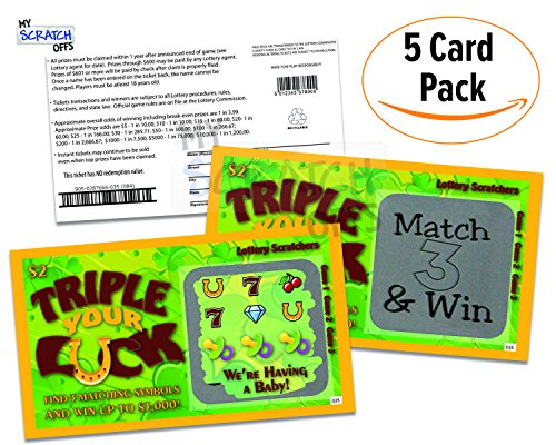 Pregnancy Announcement  Triple Your Luck Lotto Replica  Scratch Off Card  5 Pack  My Scratch Offs