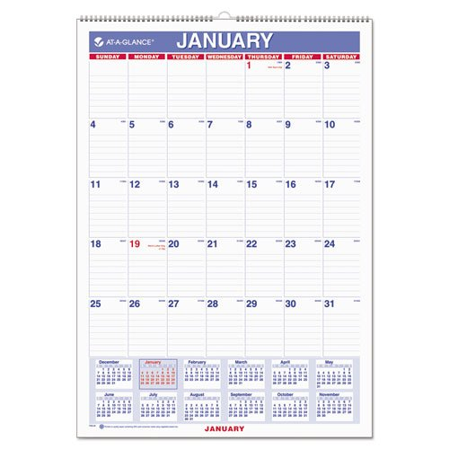 At A Glance Wall Calendar 2017  Monthly  12 X 17   Ruled  Wirebound  Pm2 28