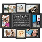 Malden International Designs Family Rules 8 Opening Dimensional Collage Black Picture Frame, Holds 6-4 by 6 Inch and 2-4 by 4 Inch