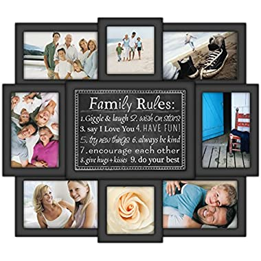 Malden International Designs Family Rules Dimensional Collage Black Picture Frame, 8 Option, 6-4x6 & 2-4x4, Black