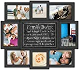 Malden International Designs Family Rules Dimensional Collage Black Picture Frame, 8 Option, 6-4x6 & 2-4x4, Black (Kitchen)