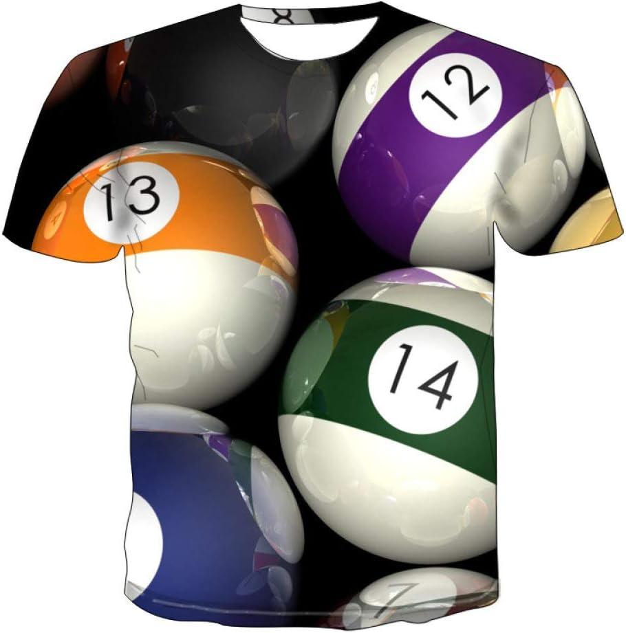 LYLLXL 3D Impreso Camiseta,Tendencia Novedad Billar Estampado Camiseta Casual Transpirable Verano Cuello Redondo Manga Corta Blusa Tops para Hombres Mujeres Fiesta Carnaval Playa: Amazon.es: Deportes y aire libre