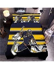 Wzhfsq Sängkläder set (tecknad hockey 135 x 200 cm dubbelt påslakanset vändbart lättskött bomullsblandning 3 delar sängkläder | 1 påslakan + 2 örngott | knappstängning | maskintvättbar