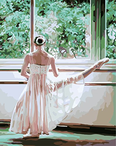 Wooden Framed or Not - Ballet Dancer Paint by Number Kits - 16 by 20 inches - PBN Kit