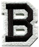 """[1 Count] Custom and Unique (2"""" Inch) """"Education"""" Bold Monogram Capital Letter B English Alphabet w/ Letterman Design Iron & Stick On Adhesive Embroidered Applique Patch {Black & White Colors}"""