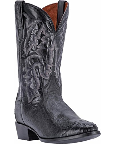 Dan Post Men's Pugh Ostrich Western Boot Round Toe Black 9 D (Dan Post Ostrich Boots)