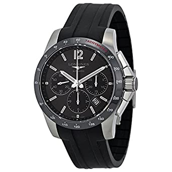 Amazon.com: Longines Conquest Black Dial Chronograph Black Rubber Mens Watch L27444562: Longines: Watches