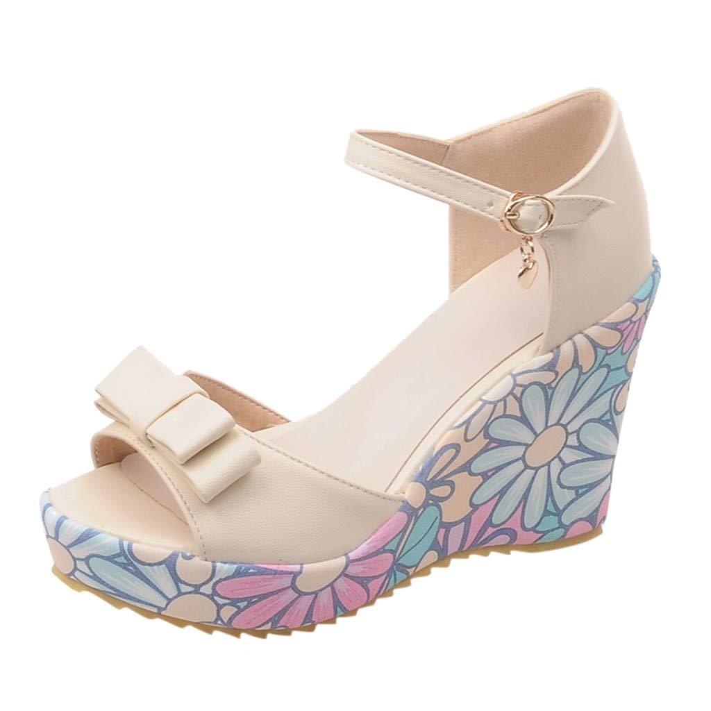refulgence Women Hight Platform Sandals, Bow WedgeBuckle Summer Casual Sandals(Beige,US=9