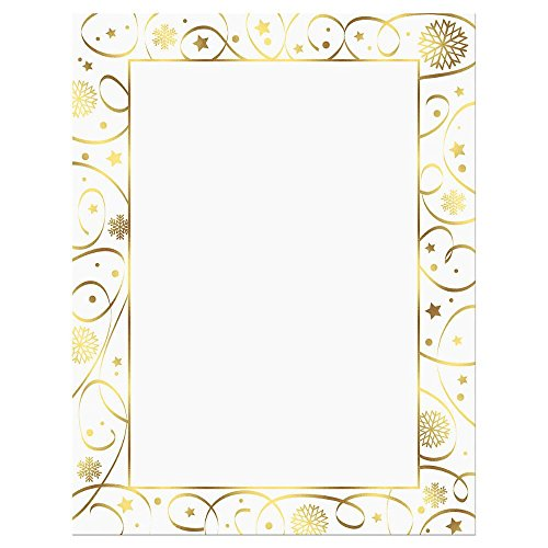 Ribbon Border Gold Foil Christmas Letter Papers - Set of 25 Christmas stationery papers are 8 1/2