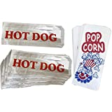Outside the Box Papers Paper Popcorn Bags and Printed Foil Hot Dog Bags- 50 Each Red, White, Blue, Silver