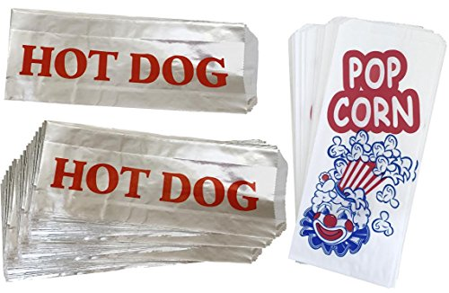 (Paper Popcorn Bags - Printed Foil Hot Dog Bags - 50 Each - Red White Blue Silver)