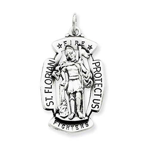- .925 Sterling Silver Antiqued St. Florian Fireman's Badge Medal Charm Pendant