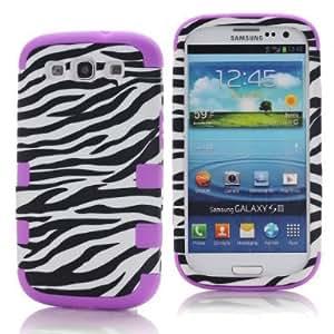 SHHR-HXSIII56N Zebra Design Hybrid Cover Case for Samsung Galaxy III S3 i9300 -Purple Color