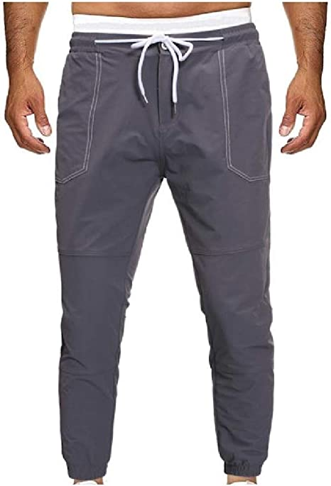 EnergyWD Men Solid Colored Close-bottom Elastic Waist Relaxed-Fit Pockets Pants