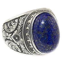 Sterling silver men ring handmade, lapis lazuli natural gemstone, steel pen crafts
