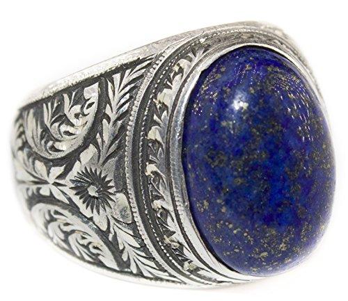 Sterling silver men ring handmade, lapis lazuli natural gemstone, steel pen crafts, Express Shipping