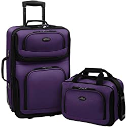 US Traveler Rio Two Piece Expandable Carry-On Luggage Set, purple - 2 piece - One Size