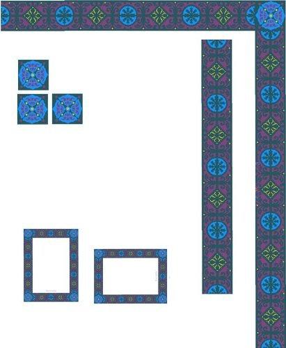 ウィンドウフレーム – ブルー&パープル幾何図形 – ビニールStained Glass Film , Static Cling Window Decal 02 in x 52 in ブルー 4328054001 B005LAT2AS 02 in x 52 in