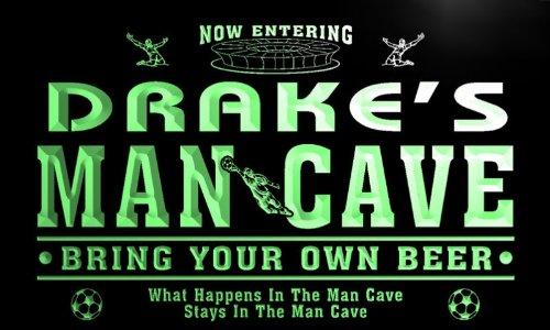 qd1458-g DRAKE's Man Cave Soccer Football Bar Neon Beer Sign by AdvPro Name